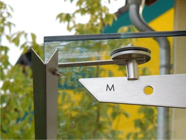 Regenrinne in Edelstahl für Befestigung am Glaspunkthalter