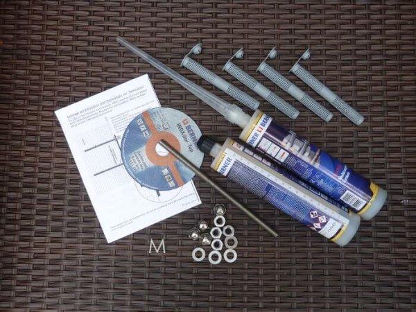 2-Komponenten Klebemörtel mit Zubehör und Anleitung